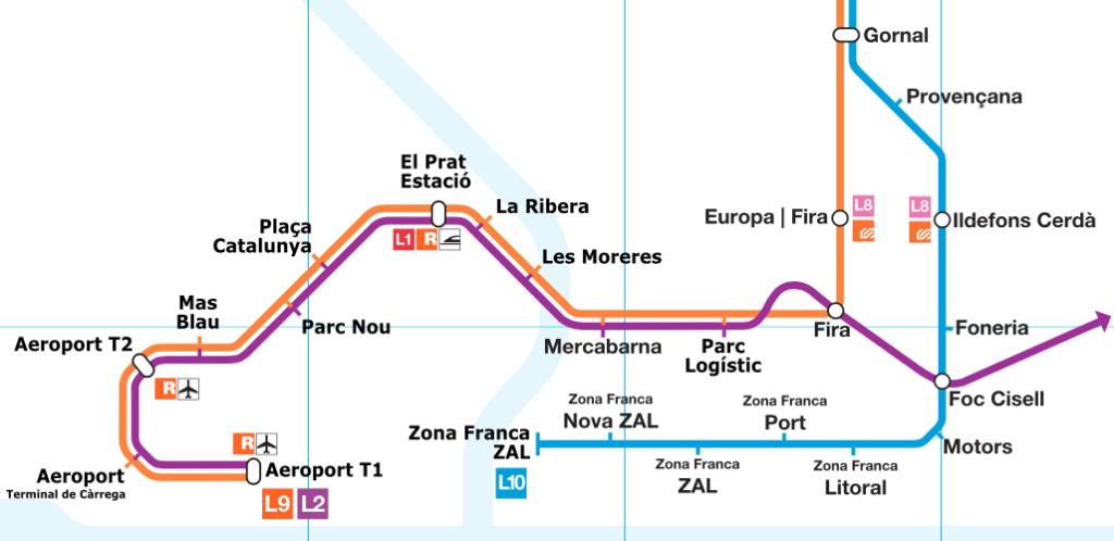 www.wikipedia.org // Mapa de la L9 i L10 del Metro al tram sud: a la Marina, la Zona Franca i l'Aeroport. El tram de la L2 és una projecció de futur.