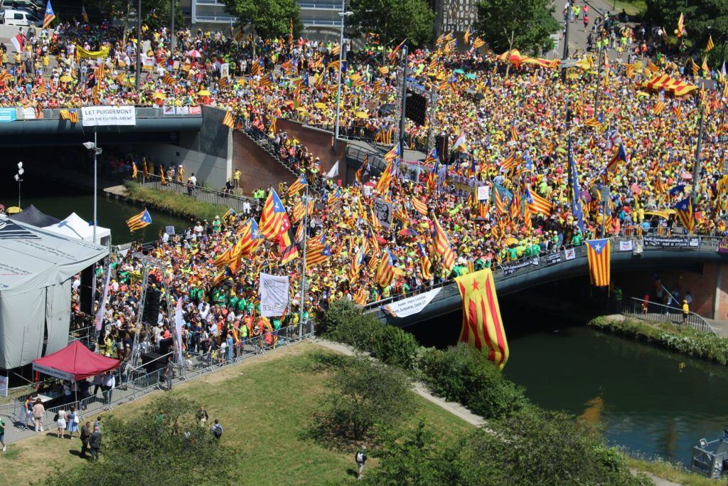 Manifestació a Estrasbourg per denunciar la vulneració de drets dels eurodiputats Oriol Junqueras,  Carles Puigdemont i Toni Comín. Font: ACN.